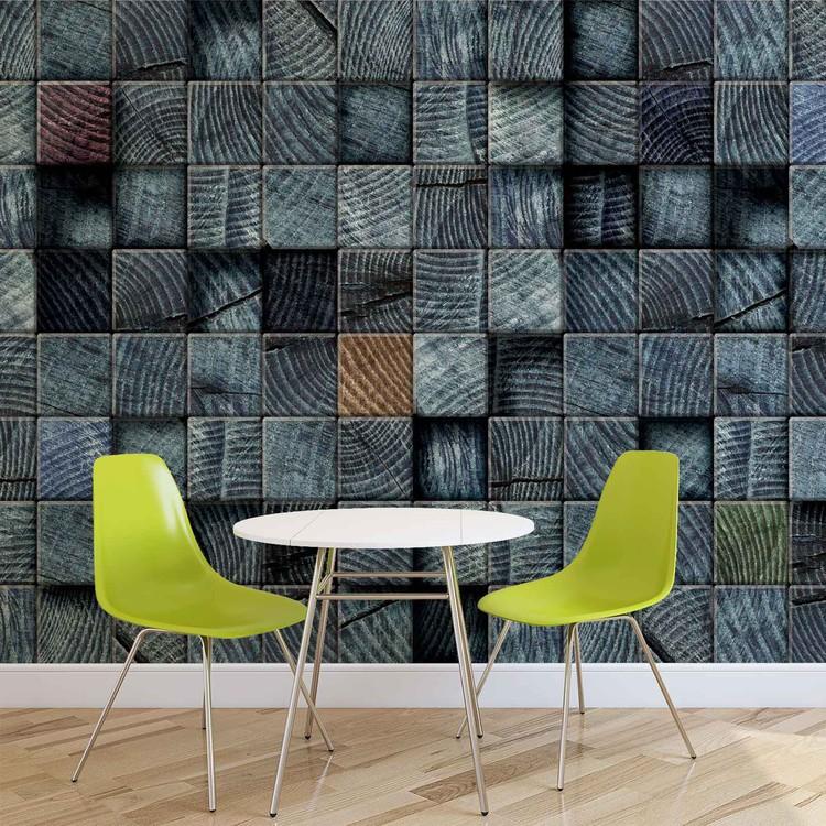 Wood Blocks Texture Dark Grey Fototapet