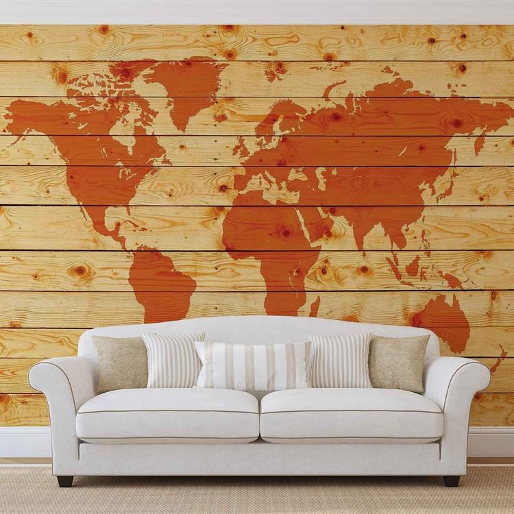 World Map Wood Planks Fototapet