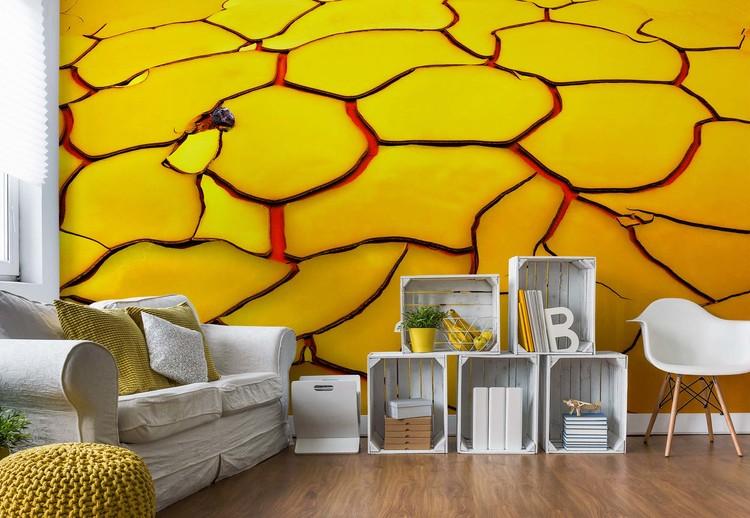 Yellow Ground, Red Heart Fototapet