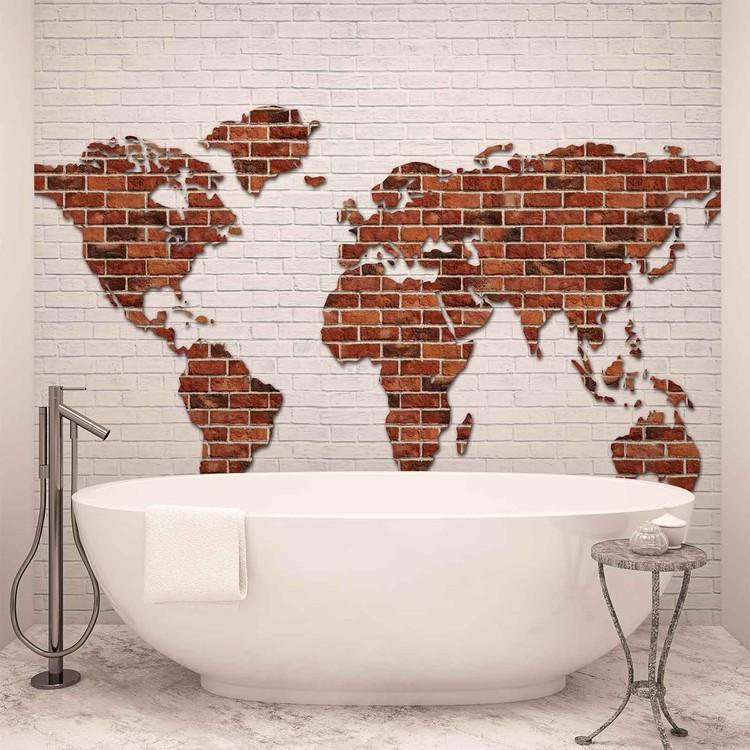 Brick Wall World Map Tapéta, Fotótapéta