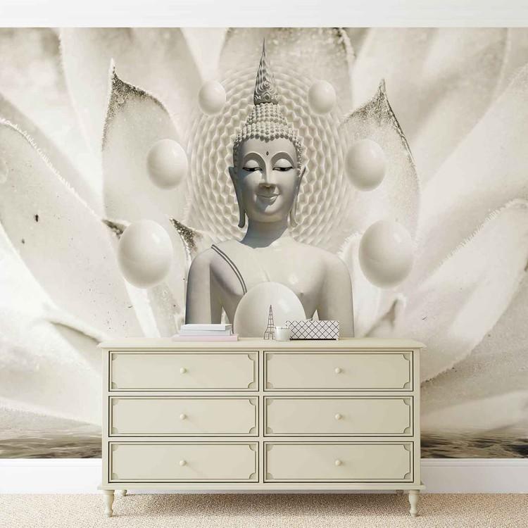 Buddha Zen Spheres Flower 3D Tapéta, Fotótapéta