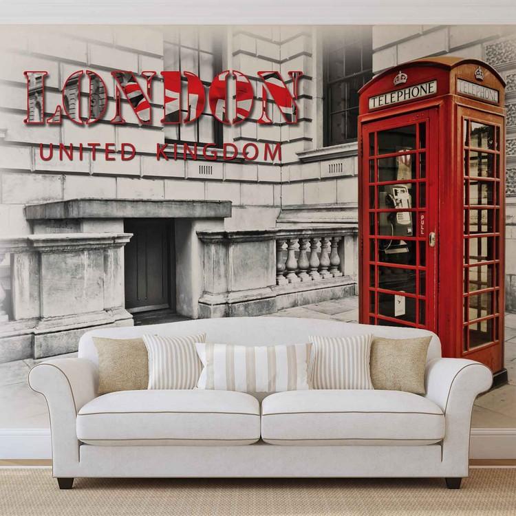 City London Telephone Box Red Fali tapéta