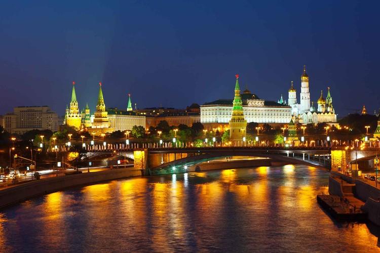 City Moscow River Bridge Skyline Night Tapéta, Fotótapéta