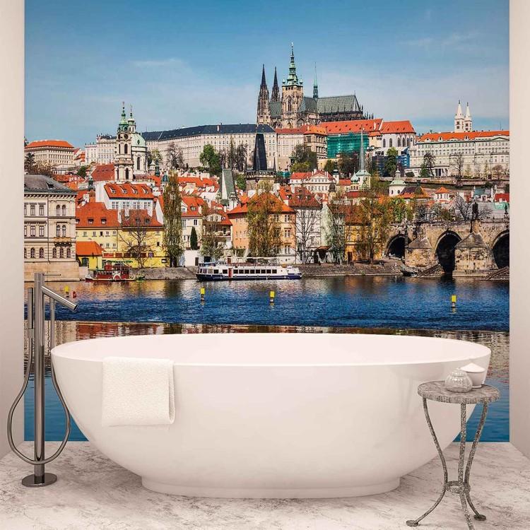 City Prague Bridge River Cathedral Fali tapéta
