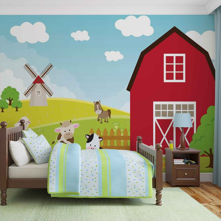 Farm Cartoon Boys Bedroom Tapéta, Fotótapéta