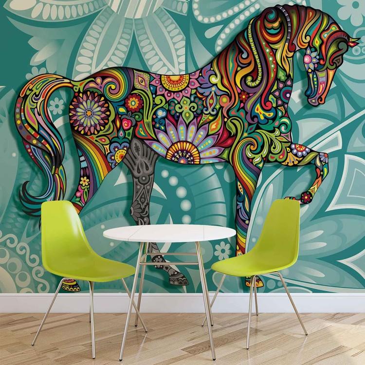 Horse Flowers Abstract Colours Tapéta, Fotótapéta