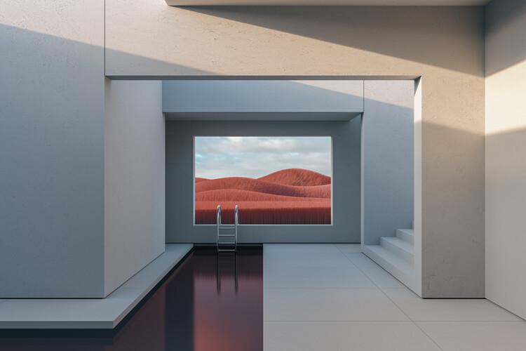 Minimal interior with a red field at day series 1 Tapéta, Fotótapéta