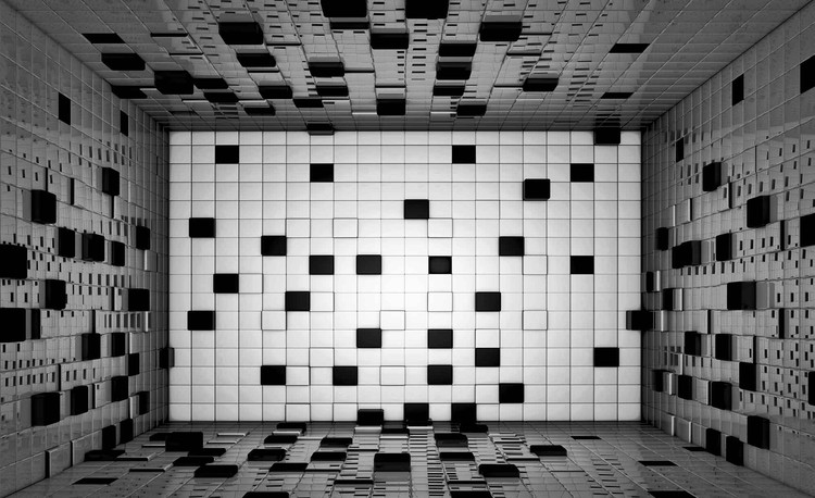 Modern Abstract Squares Black White Tapéta, Fotótapéta