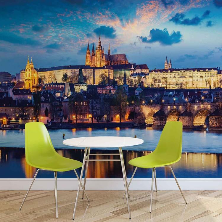 Prague City River Fali tapéta