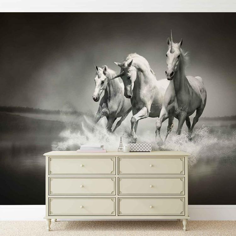 Unicorns Horses Black White Tapéta, Fotótapéta