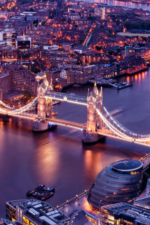 View of City of London with the Tower Bridge at Night Tapéta, Fotótapéta