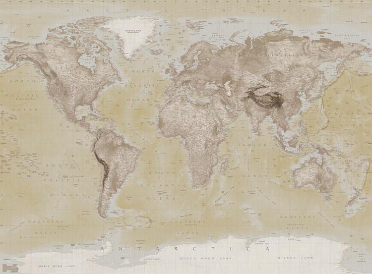 Világ térképe - Neutral Fali tapéta