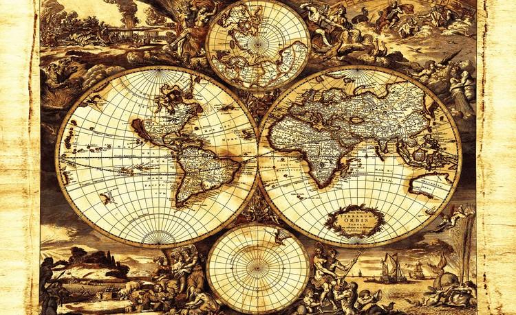 World Map Vintage Tapéta, Fotótapéta