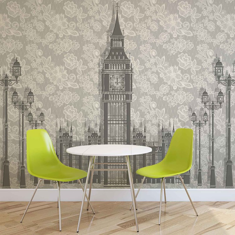 Abstract Floral London Design Fototapeta