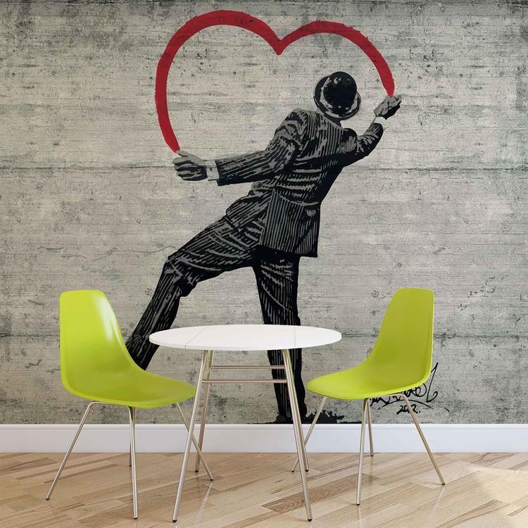 Banksy Graffiti Concrete Wall Fototapeta