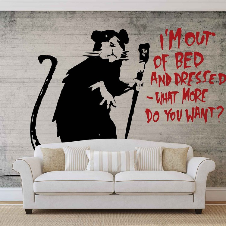 Banksy Graffiti Rat Concrete Wall Fototapeta