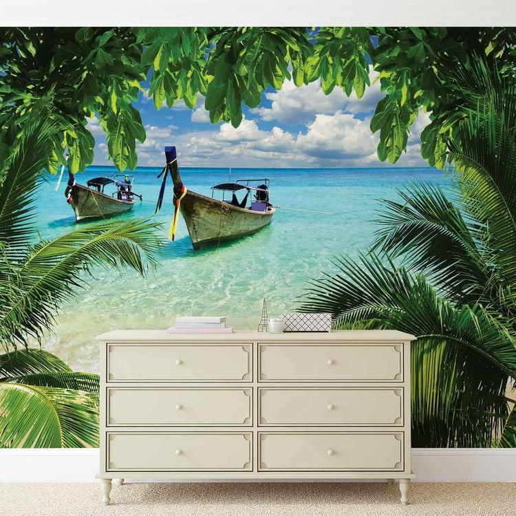 Beach Tropical Paradise Boat Fototapeta