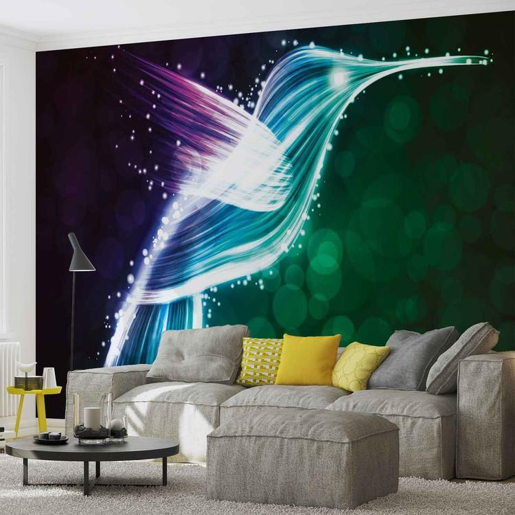 Bird Hummingbird Neon Colours Fototapeta