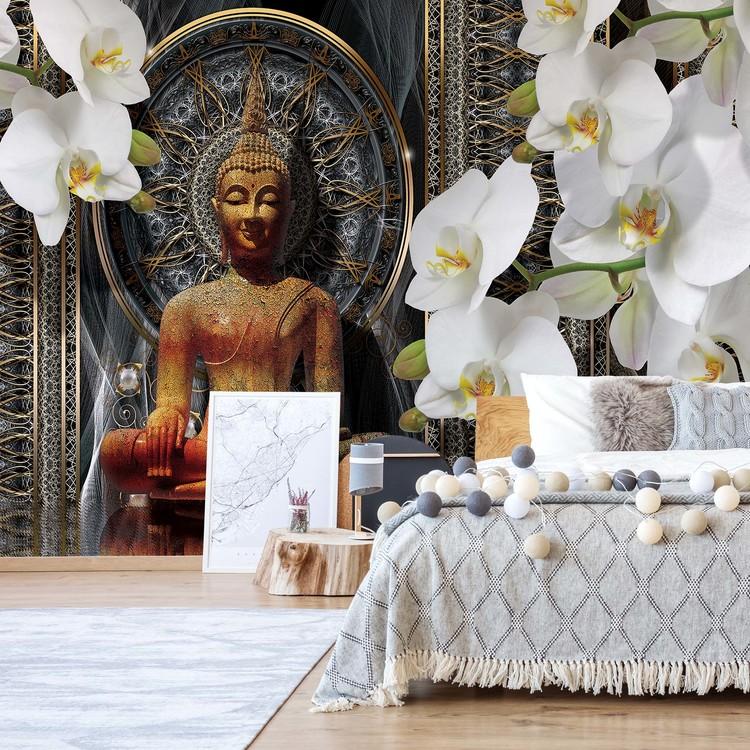Buddha Zen Flowers Orchids Mandala Fototapeta