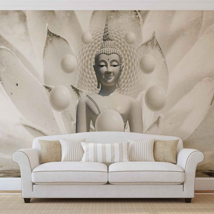 Buddha Zen Spheres Flower 3D Fototapeta