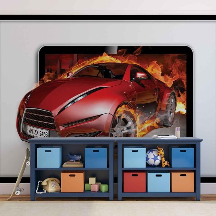 Car Flames Fototapeta