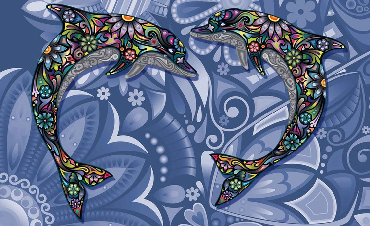 Dolphins Flowers Abstract Colours Fototapeta