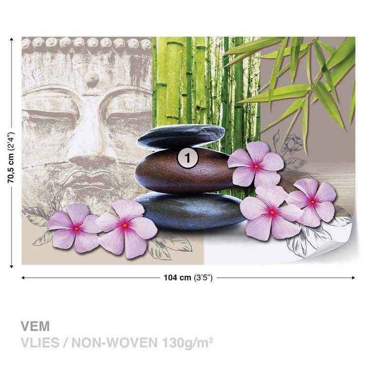 Flowers With Zen Stones Fototapeta