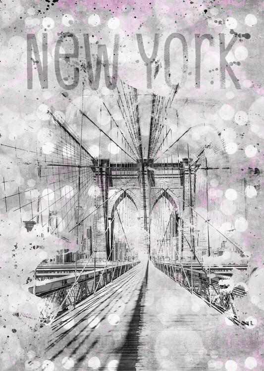 Graphic Art NEW YORK CITY Brooklyn Bridge Fototapeta
