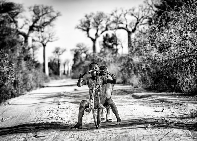 Having fun among baobabs Fototapeta
