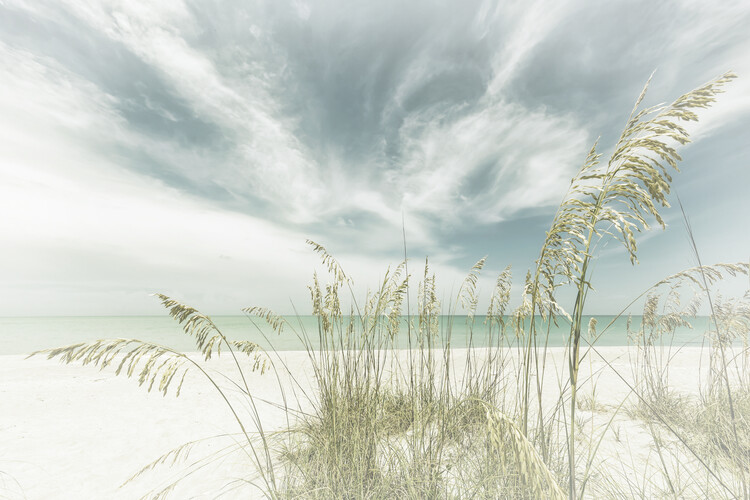 Heavenly calmness on the beach | Vintage Fototapeta