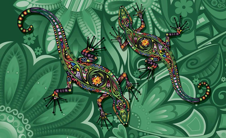 Lizards Flowers Abstract Colours Fototapeta