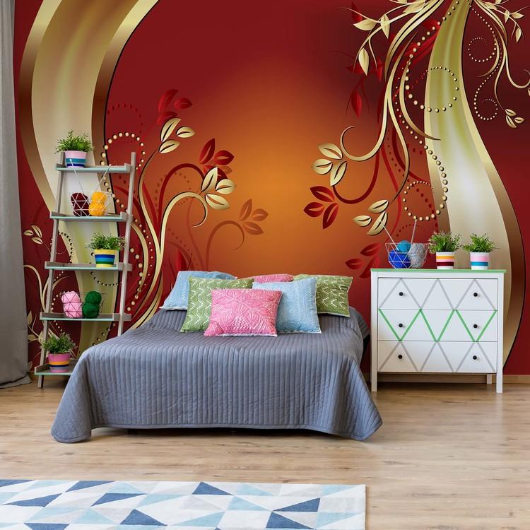Luxury Ornamental Floral Design Orange Fototapeta