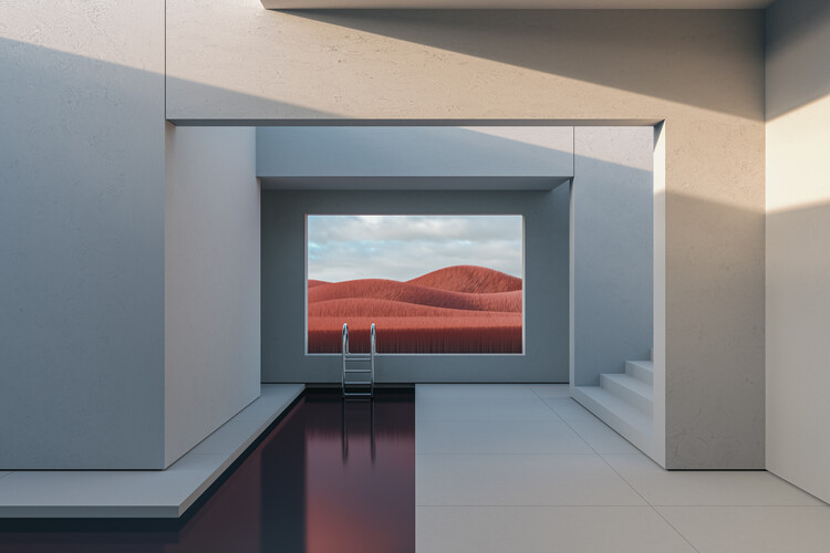Minimal interior with a red field at day series 1 Fototapeta