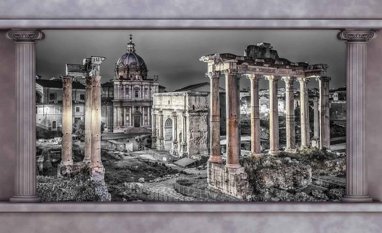 Rome City Ruins Window View Fototapeta