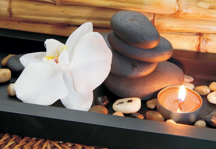 Spa Pebbles And Flowers Fototapeta