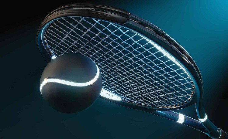 Tennis Racket Ball Neon Fototapeta