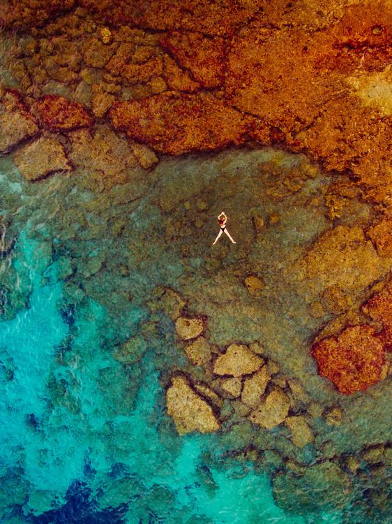 Woman swiming at sea Fototapeta