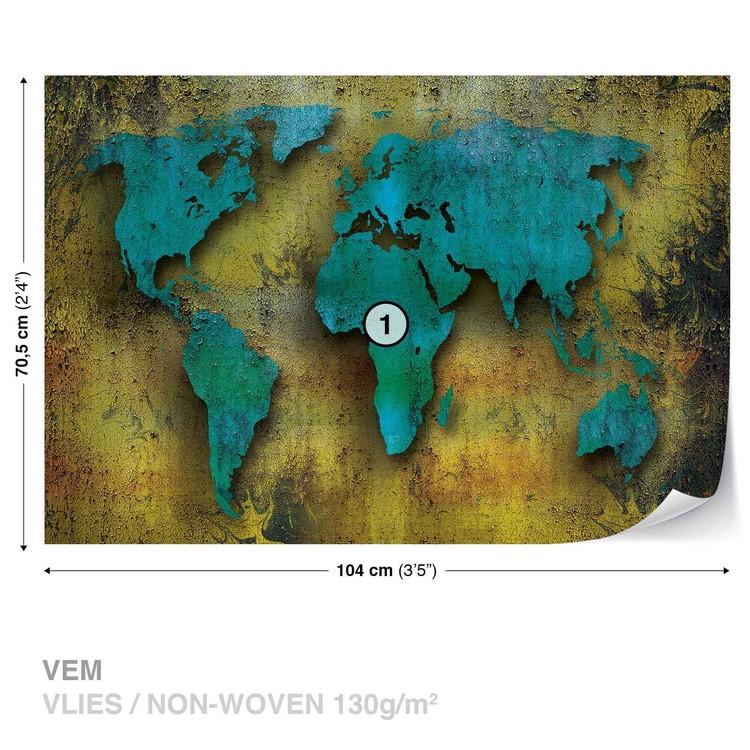 World Map On Wood Fototapeta