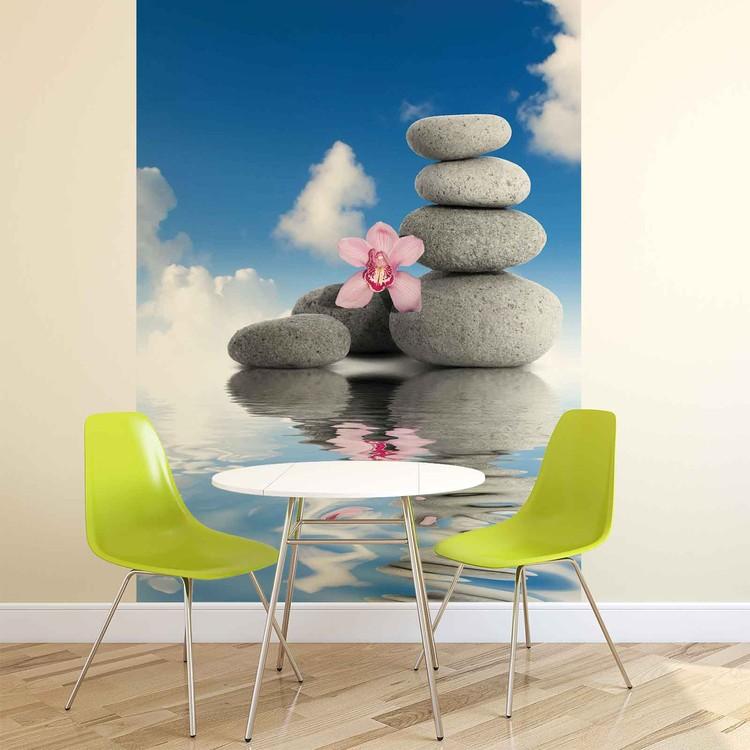 Zen Water Stones Orchid Sky Fototapeta