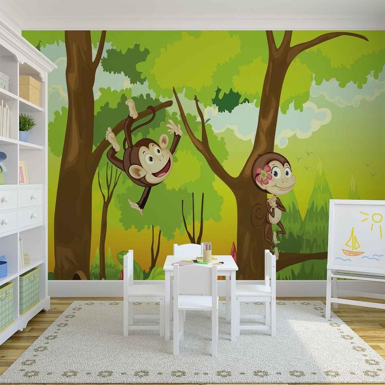 fototapete tapete affen dschungel kinderzimmer bei europosters kostenloser versand. Black Bedroom Furniture Sets. Home Design Ideas