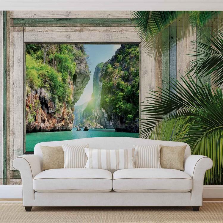 Fototapete, Tapete Ausblick Fenster Berge Lagune Bei EuroPosters    Kostenloser Versand