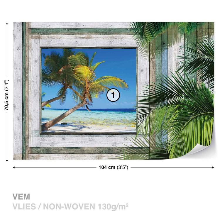 fototapete tapete ausblick fenster tropischen strand bei europosters kostenloser versand. Black Bedroom Furniture Sets. Home Design Ideas