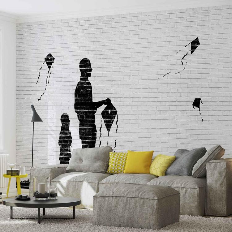 Backstein Drachen Kinder Schwarz Weiß Fototapete