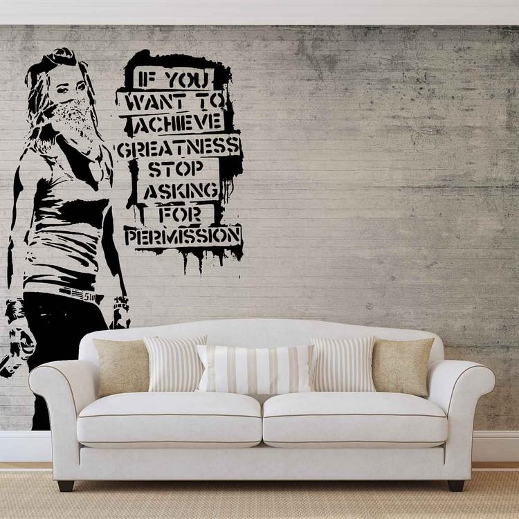 Fototapete, Tapete Banksy Graffiti Betonwand Frau Bei