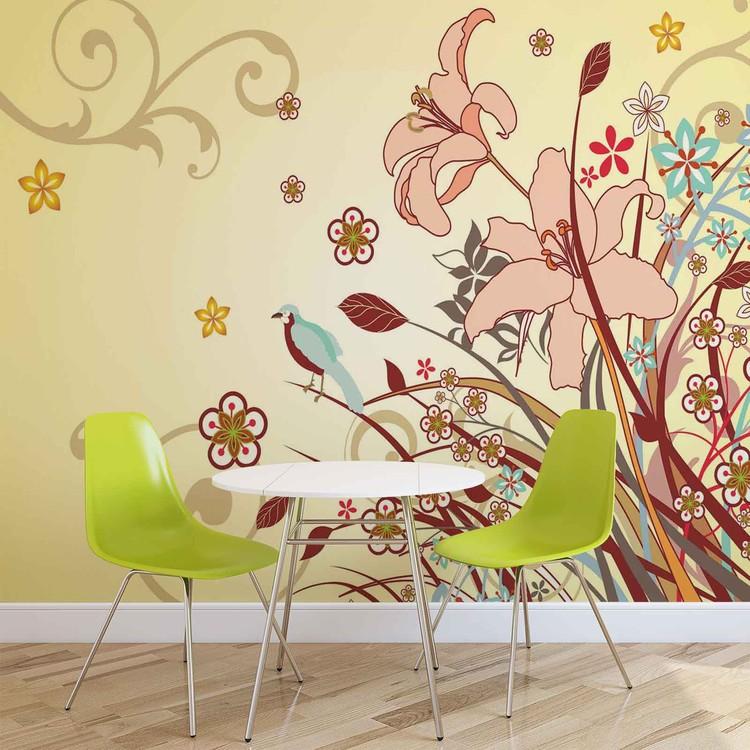 fototapete tapete blumen muster abstrakt bei europosters. Black Bedroom Furniture Sets. Home Design Ideas