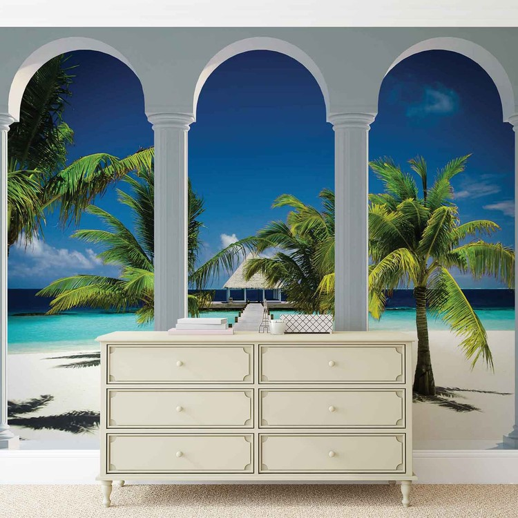 fototapete tapete b gen ausblick tropischen strand weg bei europosters kostenloser versand. Black Bedroom Furniture Sets. Home Design Ideas