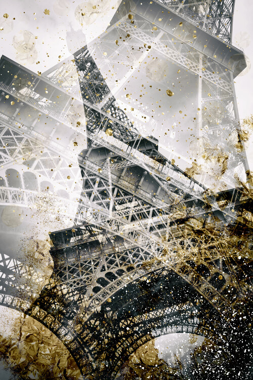 Eiffel Tower   Vintage gold Fototapete
