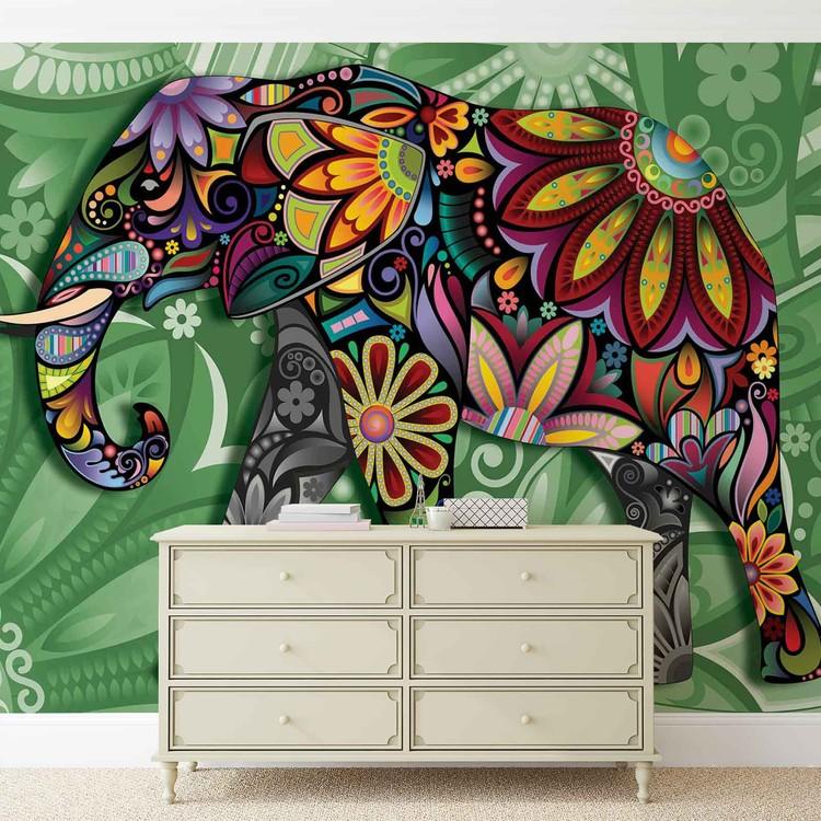 fototapete tapete elefant blumen abstrakt bunt bei. Black Bedroom Furniture Sets. Home Design Ideas