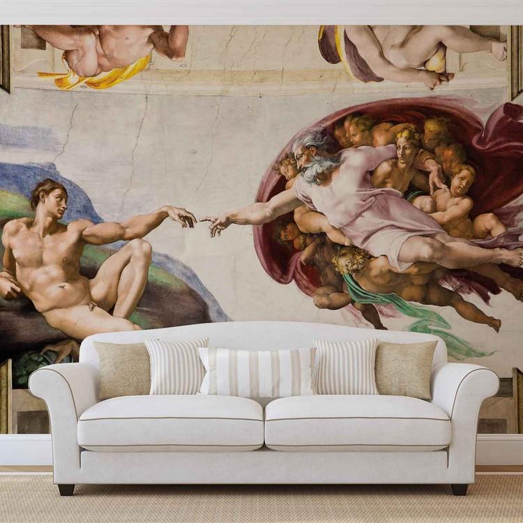 Erschaffung Adams Kunst Michelangelo Fototapete