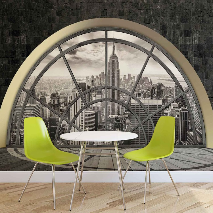 fototapete tapete fenster new york city empire state bei europosters kostenloser versand. Black Bedroom Furniture Sets. Home Design Ideas